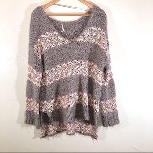 Free People striped oversized knit sweater